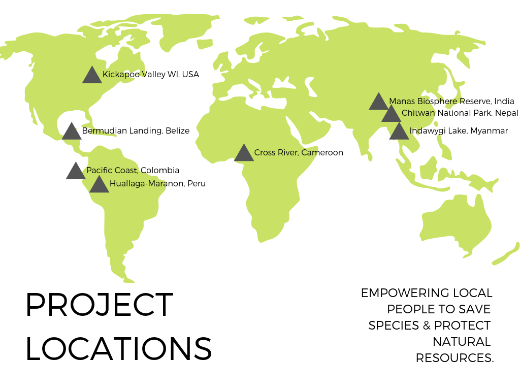 """world map showing eight project locations with text"""" Empowering Local People to Save Species and Protect Natural Resources."""""""